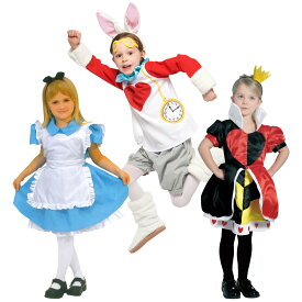 【送料無料】ハロウィン コスプレ キッズ コスプレ セット 衣装 ディズニー コスチューム 不思議の国のアリス ハートの女王 白ウサギ Disney キャラクター 子ども 子供 女の子 かわいい キュート テーマパーク 仮装 変装 おゆうぎ 親子お揃い可 80 90 100 110 120 130 140cm