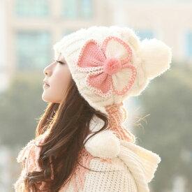 ニット帽 ボンボン レディース 花 防寒 帽子 暖かい あったか 女の子 大人 女性用 秋冬 かわいい ゆったり コーデ 着こなし おしゃれ お洒落 ふんわり ボリューム 小顔効果 プレゼントも◎ ベージュ グレー 白 赤 黄色 ピンク選べる6色