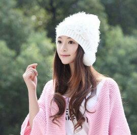 送料無料ニット帽ボンボンレディース花防寒帽子暖かいあったか女の子大人女性用秋冬かわいいゆったりコーデ着こなしおしゃれお洒落ふんわりボリューム小顔効果プレゼントも◎ベージュグレー白赤黄色ピンク選べる6色