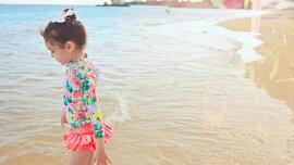 メール便送料無料水着女の子長袖トップススカートキャップ付き3点セットセパレート子供スイムウェアかわいいキッズジュニアガールズサイズ身長90100110120130140150kidsベビーフリル花柄紫外線防止