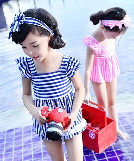 メール便送料無料キッズ水着女の子ジュニアセパレート3点セットトップスパンツヘアバンドリボン付きボーダーかわいいスイムウェア子供女児こどもプール海水遊び身長90100110120130cmXSSMLXL