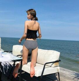 水着体型カバーレディースビキニビスチェ2点セットママ水着女の子バンドゥ2wayドット柄無地シンプル上下別柄ミックスマッチバックシャンかわいいセクシーフレアノンワイヤーパッド一体型おしゃれブラックホワイトトレンド水着即日発送
