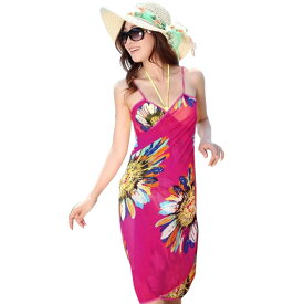 パレオ 大判 レディース 水着用 単品 体型カバー 肩紐付き タヒチアン ワンピ風 スカート風 セクシー 女性用 オトナ女子 UV対策 紫外線対策 日焼け対策 大人 花柄 上品 かわいい おしゃれ 乾きやすい