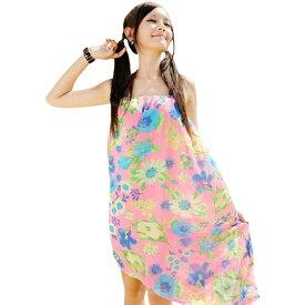 リゾートワンピース 花柄 大人 カラフル 体型カバー 夏 チュール ナチュラル カラフル シンプル インポート aライン 膝丈 ゆるかわ カジュアル プール ビーチ 水着の上に着る 露出控えめ