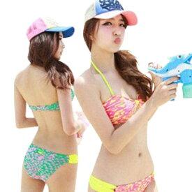 水着 レディース ビキニ 2点セット ホルターネック ブラ セクシー ミズギ 女性用 かわいい 女の子 ネオンカラー 三角模様 Mサイズ7号Lサイズ9号XLサイズ11号