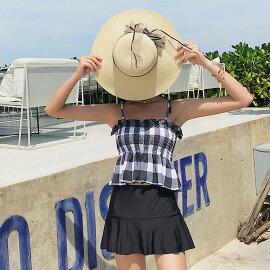 水着タンキニレディース体型カバーセパレートフレアスカート2点セットオトナ女子可愛いセクシー無地フリルベロア素材シンプルノンワイヤーモールドカップお尻お腹太ももカバーアップ露出控えめ夏海プールビーチリゾート旅行グリーン2019新作
