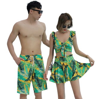 In the fashion summer when the swimsuit couple simple pair look figure cover swimsuit Lady's bikini back frill race up back beautifulness ribbon men half underwear three points set who gather, and can enjoy it is pretty resort outstanding ボタニカル handle mo