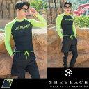 2017新作 水着 メンズ ラッシュガード サーフパンツ ビーチパンツ 海パン 2点セット 韓国 ファッション SHEBEACH BILLIE RASHGUARD(MEN) SHORTS (MEN)