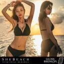 水着 ビキニ 黒 レディース 2点 セット セクシー 三角ビキニ 韓国ブランド SHEBEACH シービーチ 正規品 GLOSS BIKINI …
