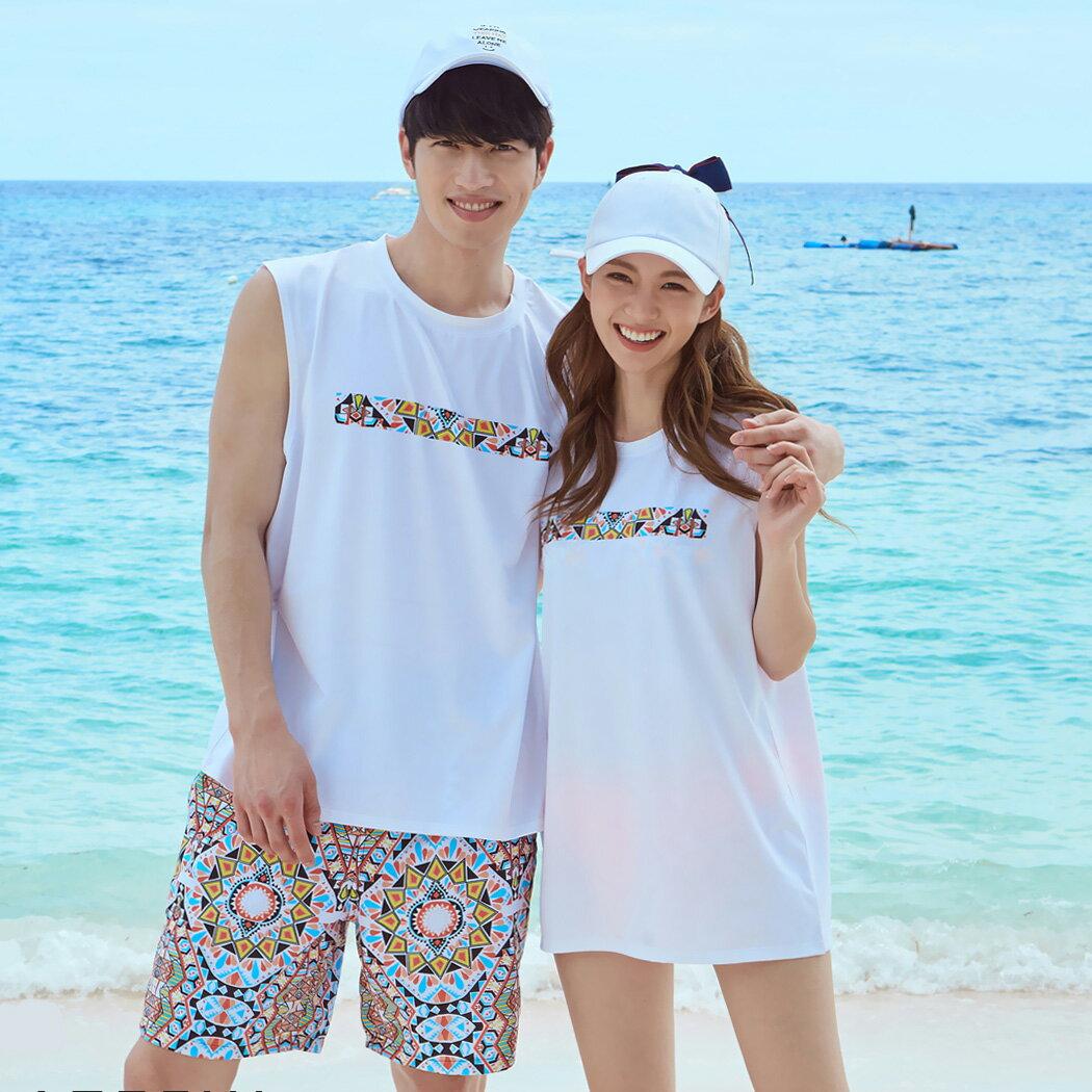 水着の上に着る Tシャツ ノースリーブ ラッシュガード UPF50+ レディース メンズ 韓国 ファッション SHEBEACH シービーチ 正規品 シンプル おしゃれ かわいい 大人 夏 フェス 海 プール リゾート アウトドア カップル ペア コーデ お揃い 伸縮性あり ホワイト 水着