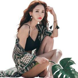 レディース ビーチウェア ロングカーディガン ローブ 単品 7分袖 体型カバー ママ ミセス 韓国 ファッション SHEBEACH シービーチ 正規品 SOME CHIC ROBE 透け感 ネイティブ柄 おしゃれ かわいい 大人 夏 海 プール リゾート コーデ 紺 緑 水着の上に着る