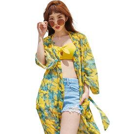 ガウン レディース ルームウェア ローブ カーディガン ロング 薄手 単品 7分袖 体型カバー ママ ミセス 韓国 ファッション SHEBEACH シービーチ 正規品 二の腕 カバーアップ 透け おしゃれ かわいい ふんわり 水着の上に着る 大人 総柄 夏 海 リゾート ビーチ イエロー