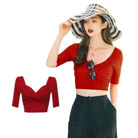 トップス レディース Tシャツ 5分丈袖 韓国 ファッション SHEBEACH シービーチ 正規品 フリーサイズ シンプル 無地 上品 エレガント フェミニン 華やか おしゃれ かわいい カジュアル スタイリッシュ 大人 パッド付き コットン100 夏 伸縮性あり 赤
