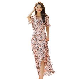 サマードレス レディース 1点 フリルデザイン 半袖 単品 韓国 ファッション SHEBEACH シービーチ 正規品 ワンサイズ 総柄 花柄 上品 エレガント フェミニン 華やか おしゃれ かわいい ナチュラル キレイ スタイリッシュ 大人 ポリエステル100 夏 秋 ピンク