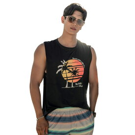 タンクトップ トップス メンズ 男の子 シャツ 単品 韓国 SHEBEACH シービーチ 正規品 可愛い お洒落 かっこいい カップルコーデ お揃いコーデ 紫外線カット UPF50+ プリント 総柄 シンプル ストリート スポーティー ハワイアン 筋肉魅せ 涼しい 大人 夏 海 ブラック