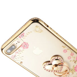 強化ガラスフィルム付きiPhoneXケーススマホリング付きiPhone8ケースiPhone8Plusケーススマホケースオシャレ可愛いiPhoneケースカバー全5色スタンド機能落下防止ブラックゴールドブルーレッドピンク耐衝撃アップルマークが見える全面保護PC素材