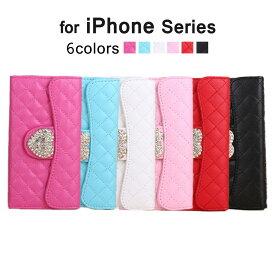 iPhone6s iPhone6 Plus iPhone SE iPhone5 iPhone5s iPhone5 手帳型ケース アイフォン6sプラス アイフォン6 アイフォン SE アイフォン5s カードポケット ハート ラインストーン iPhoneケース