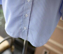 送料無料スキッパーシャツストライプレディースVネックトップスシャツ青ドルマンスリーブきれいめ春秋定番かわいいおしゃれタウンオフィスカジュアルコーデ着やすいシンプルフェミニン清楚普段使いスキッパーブルーストライプビッグシルエット