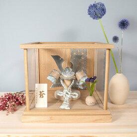 5月人形 おしゃれ かわいい シンプル コンパクト 五月人形兜 てづくり 五月人形木製 モダン ことのオリジナル兜(そら)ナチュラルケース 麻の葉