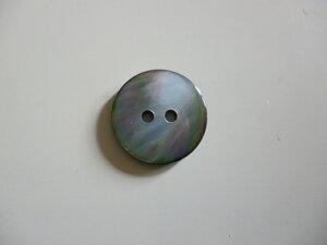 S-3190 坊主黒蝶貝 2つ穴シャツボタン 15mm