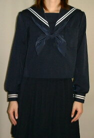 W01紺セーラー服衿・カフス・白2本線Bigサイズ