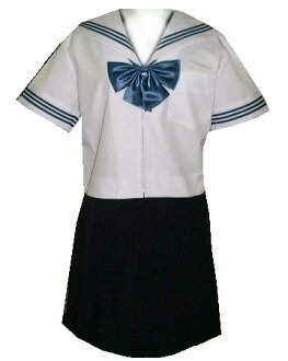 SH29Big collar and cuffs white and Navy Blue 3 line short sleeve sailor dress Big size