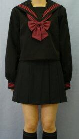 Teen-WK02黒色セーラー服Bigサイズ赤3本線高校生 学生 中学 女子高生 進学 学校スクール ネイビー 紺 無地