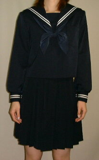 W01 Navy Blue sailor dress collar and sleeves white 2 line