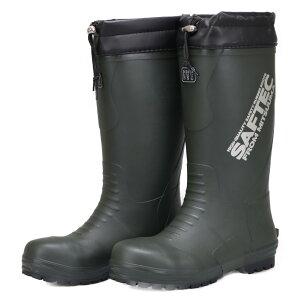 ミツウマ メンズ 安全長靴 作業長靴 梅雨時期 レインブーツ 鉄先芯入り セーフテック702 カーキ