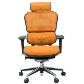 Ergohuman(エルゴヒューマン) オフィスチェア ベーシック(ヘッドレスト付) EH-HAM(KMD-33) オレンジ 3Dファブリックメッシュ ◆代引きの場合は手数料と別途送料がかかります。