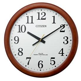 電波掛時計 木枠 茶色半艶仕上 (白) リズム時計工業 8MY548-006★