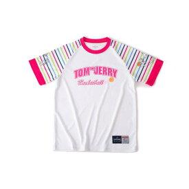 【スポルディング】 Tシャツ トム&ジェリ— ストライプス [サイズ:M] [カラー:ホワイト×ピンク] #SMT190570 【スポーツ・アウトドア:バスケットボール:ウェア:レディースウェア:プラクティスシャツ】【SPALDING】