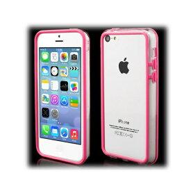 【iPhone5c】 iPhone5c ハイブリッドバンパ— プラスチック&TPU クリア/ピンク 【電化製品:スマートフォン:iPhoneケース】