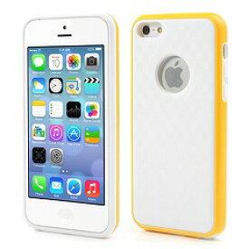 【iPhone5c】 iPhone5c ハイブリッドケース プラスチック&TPU スタイリッシュタイプ ホワイト/イエロ— 【電化製品:スマートフォン:iPhoneケース】