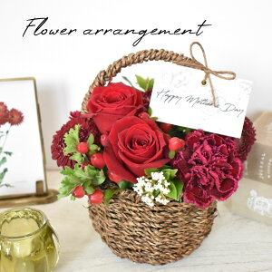 basket arrangement【花 フラワー バラ ガーベラ カーネーション 生花 アレンジ アレンジメント フラワーアレンジメント 母の日 母の日ギフト】