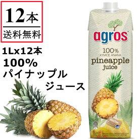 【送料無料】 agros パイナップル ジュース パインアップル 果汁100% 1000ml×12本 無添加 紙パック 業務用 まとめ買い 濃縮還元 1L