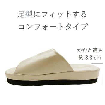【男女兼用しぼ無レザー調素材コンフォート】サンダル【アイボリーブラックサンダル】