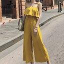 オールインワン ワイドパンツ フリル かわいい ハイウエスト リゾート 旅行 10代 20代 30代 イエロー 黄 水色 黒 ブラック
