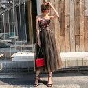 ドレス ベアトップ ミモレ丈 ロング 花柄 刺繍 チュール ワンピース セクシー エレガント パーティー 小さいサイズ 20代 30代 40代 黒ブラック XS/S/M/L/XL