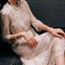 ロング ドレス 花柄 刺繍 大人かわいい 袖あり デート 上品 エレガント 20代 30代 ベージュ アプリコット 謝恩会