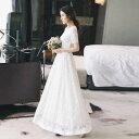 花嫁 ドレス セパレートロング ツーピース レース 袖あり エレガント 前撮り 後撮り 二次会 白ホワイト S/M/L