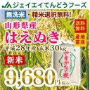 28年産 山形県産はえぬき玄米30kg 送料無料※一部地域は別途送料 お米30kg まとめ買い 米 コメ JA