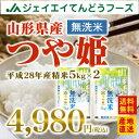 28年産 山形県産つや姫無洗米 10kg(5kg×2) 送料無料※一部地域は別途送料追加