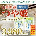 あす楽対応【無洗米】27年産米 山形県産米 つや姫米 ブランド米 10kg(5kg×2)米 JA米 訳あり