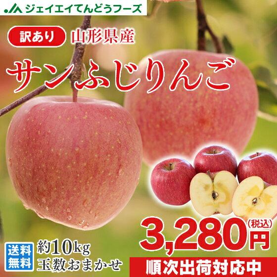 あす楽 訳あり りんご 10kg 送料無料 山形県産 りんご 約10kg(28〜56玉) バラ詰め ※一部地域は別途送料追加 フルーツ 果物 サンふじ t02 果物