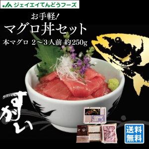 お手軽マグロ丼セット 2〜3人前 本マグロ切り落とし約250g 冷凍酢飯&醤油&ワサビ付!