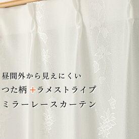 レースカーテン ミラー つた柄 + ラメストライプ 昼間外から見えにくい UVカット 日本製 おしゃれ 4234オフホワイト 規格サイズ 巾(幅)80cm×高さ(丈)88・98・118・133cm 1枚入小窓用 幅80センチ【受注生産A】