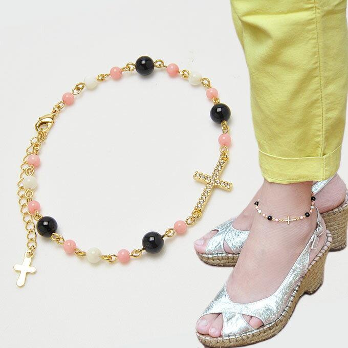 オニキス × ピンク珊瑚 × マザーオブパール アンクレット 十字架 クロス 天然石 パワーストーン 【送料無料】