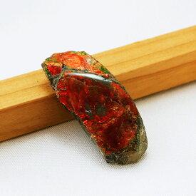 カナダ(アルバータ州)産 幻の宝石 アンモライト化石 赤緑系 寸法約3.8×1.8cm 重量約6.4g バッファローストーン アンモナイト 龍鱗 ドラゴンスケールス 原石 置物 インテリア パワーストーン