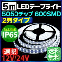 LEDテープ 5m 防水 600SMD 12V/24V 選択 高防水性 シリコンチューブ LED2列タイプ LEDテープ 防水 IP65 5050チップ 600...